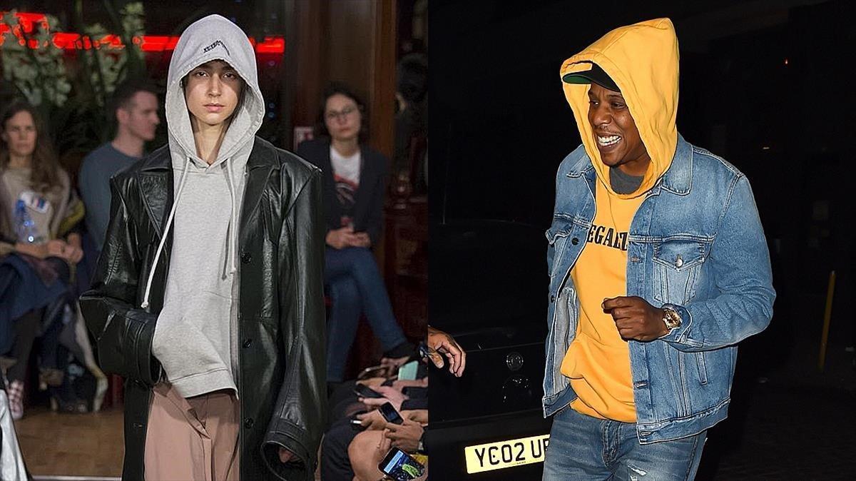 A la izquierda, un modelo de Vetements, que ha convertido en fetiche la sudadera. A la derecha, el rapero Jay-Z.