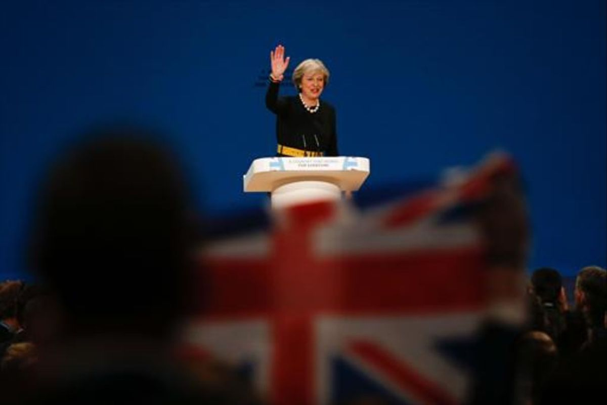 Theresa May durante su intervención en el congreso del Partido Conservador, el 2 de octubre, en Birmingham.