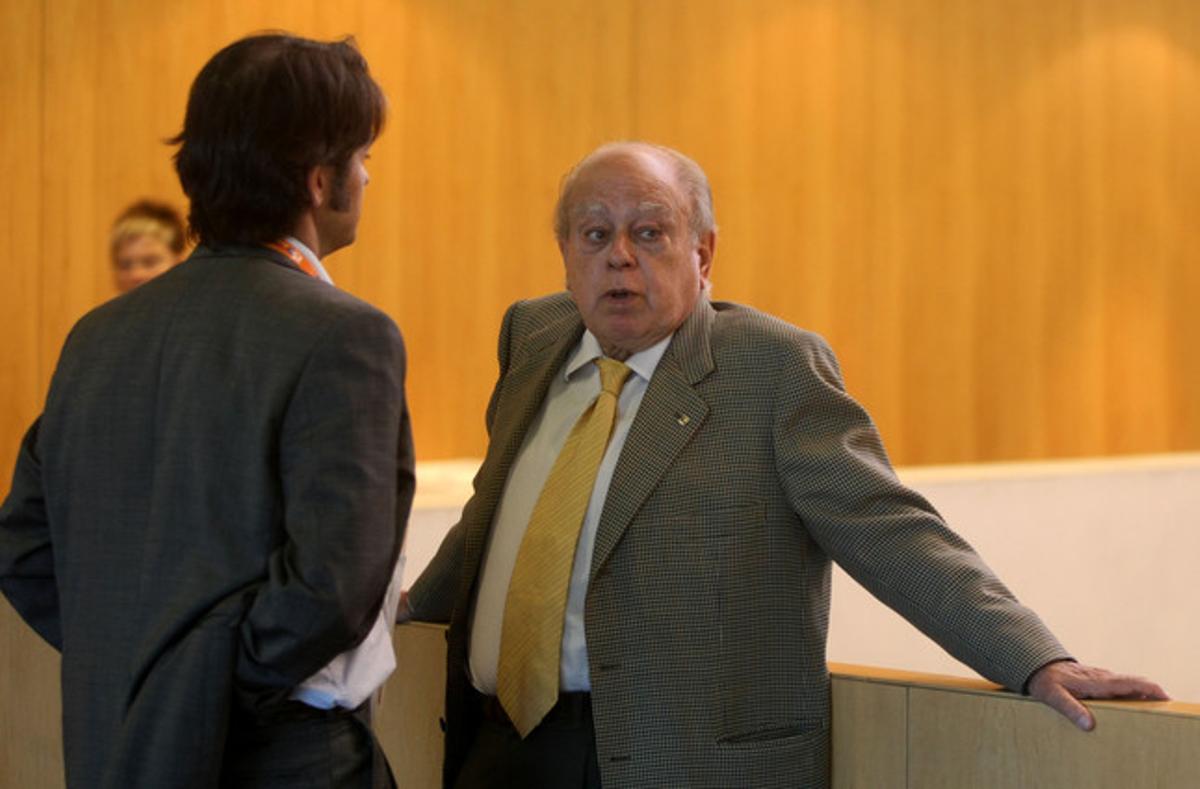 El 'expresident Jordi Pujol y su hijo Oriol en un congreso de CDC en el año 2008