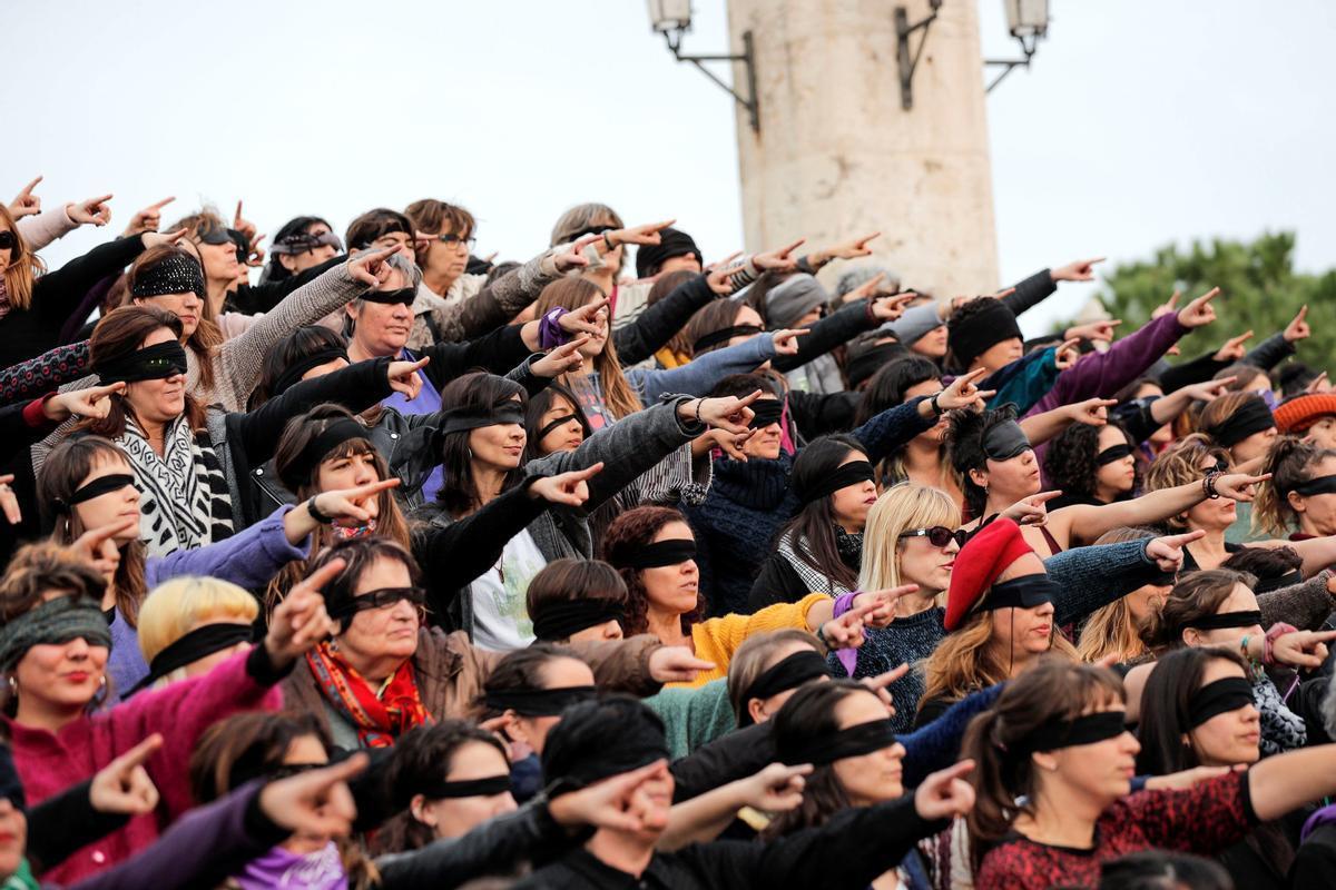 Acto contra la violencia machista en València, el pasado 2019.
