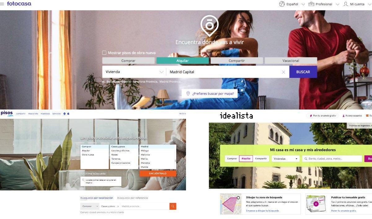 Imagen de tres de los principales portales inmobiliarios