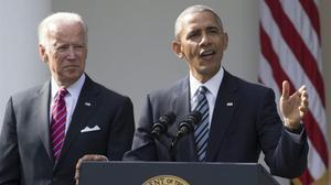Obama y Biden durante una comparecencia en la Casa Blanca.