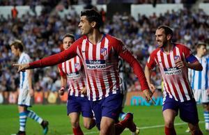 Álvaro Morata celebra uno de sus goles ante la Real Sociedad.