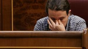 Pablo Iglesias este miércoles en su escaño del Congreso.