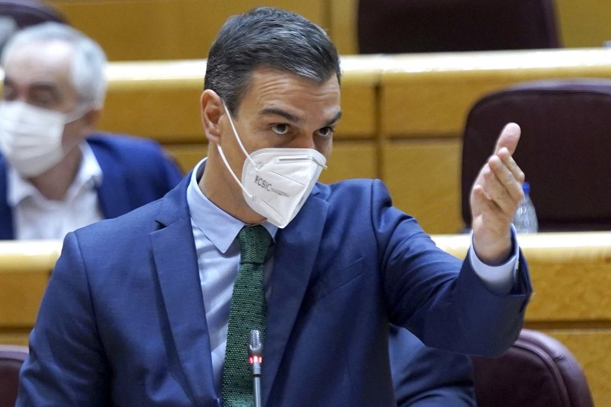El presidente del Gobierno, Pedro Sánchez, este 17 de noviembre en la sesión de control al Gobierno en el Senado.