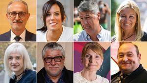 Josep Monràs, Marta Farrés, Xavier García Albiol, Ana María Martínez, Pilar Díaz, Antonio Balmón, Lluïsa Moret y Carles Ruiz Novella (de izquierda a derecha y de arriba a abajo).