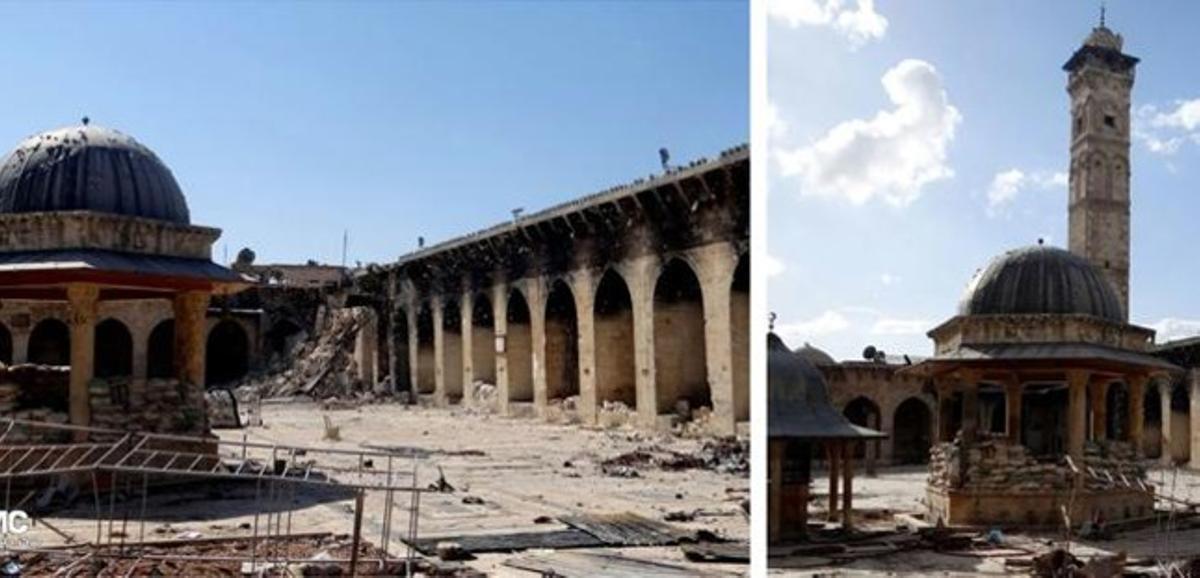 Combo de imágenes de la Gran Mezquita Olmeya de Alepo, con y sin minarete, antes y después del bombardeo de este miércoles.