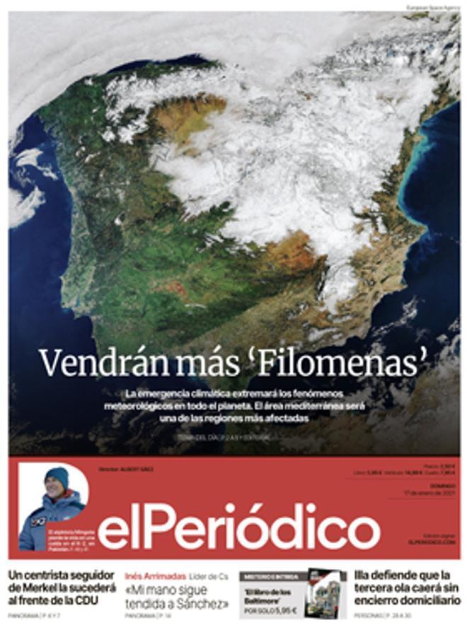 La portada de EL PERIÓDICO del 17 de enero de 2021