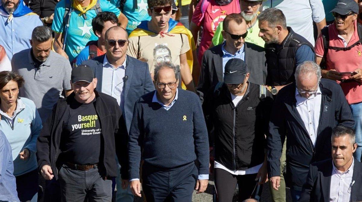 Torra, en la marcha de la AP-7, en Girona.