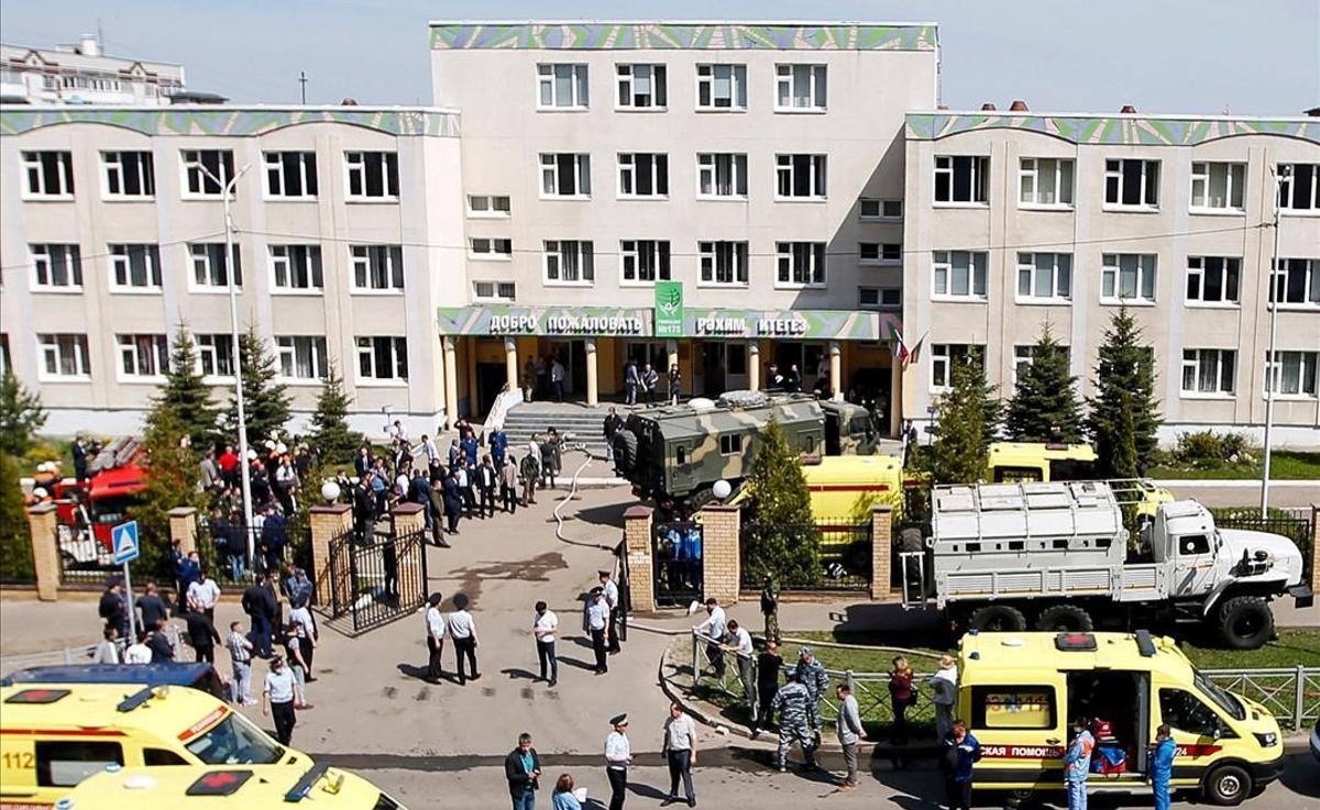 La escuela de Kazán (Rusia) donde un tiroteo ha causado al menos 8 muertos.