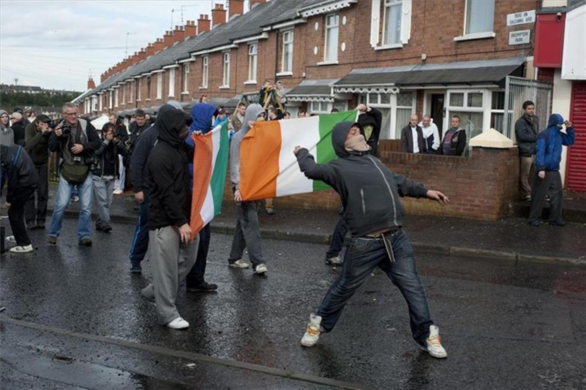 Protesta contra la Marcha Orange unionista, en una foto de archivo.
