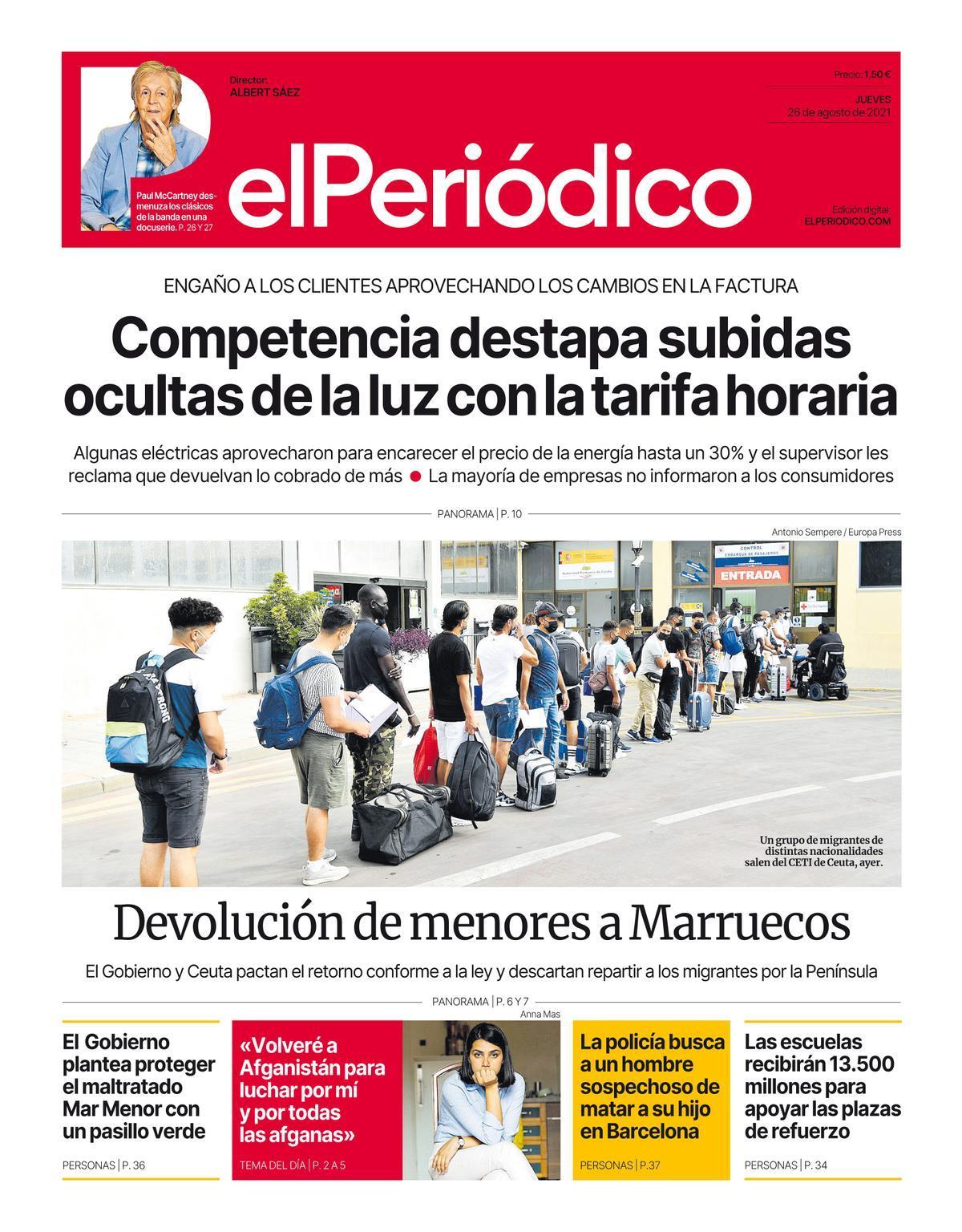 La portada de EL PERIÓDICO del 26 de agosto de 2021