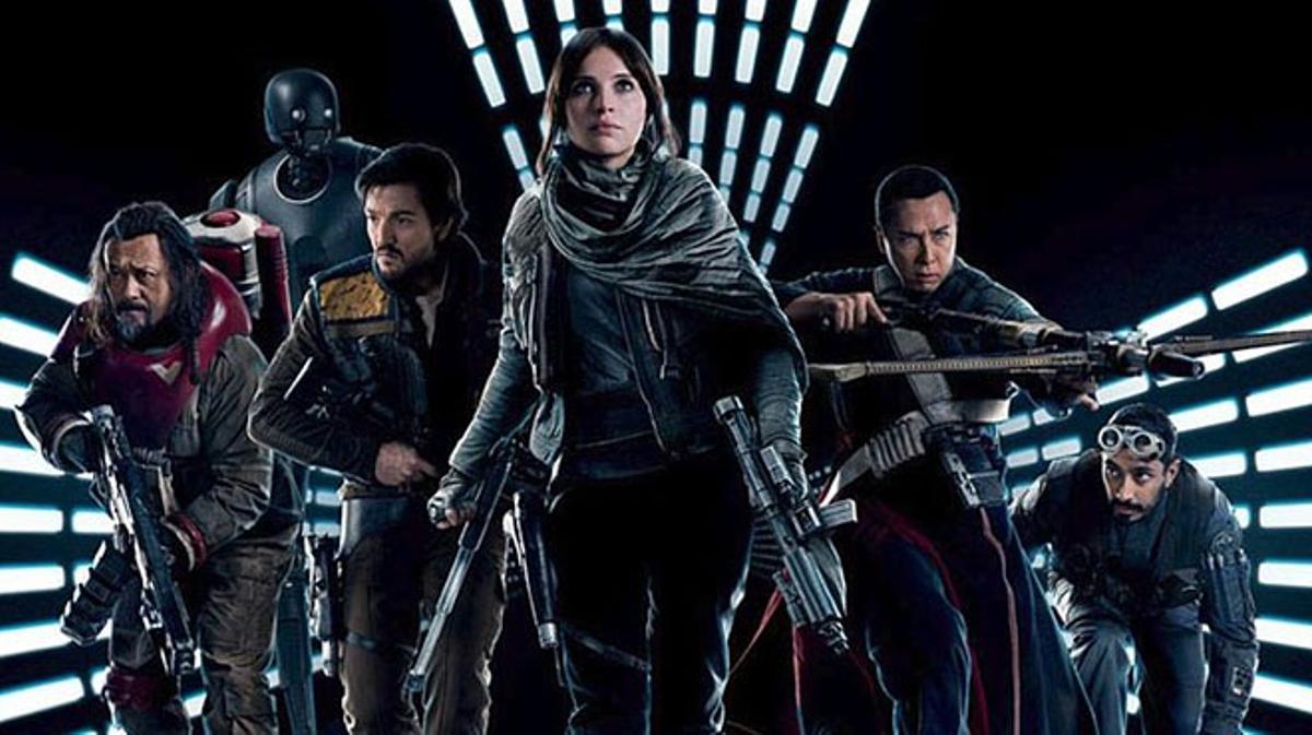 Tráiler de 'Rogue One'. Los buenos de 'Rogue One', con Jyn Erso (Felicity Jones) en primer plano.