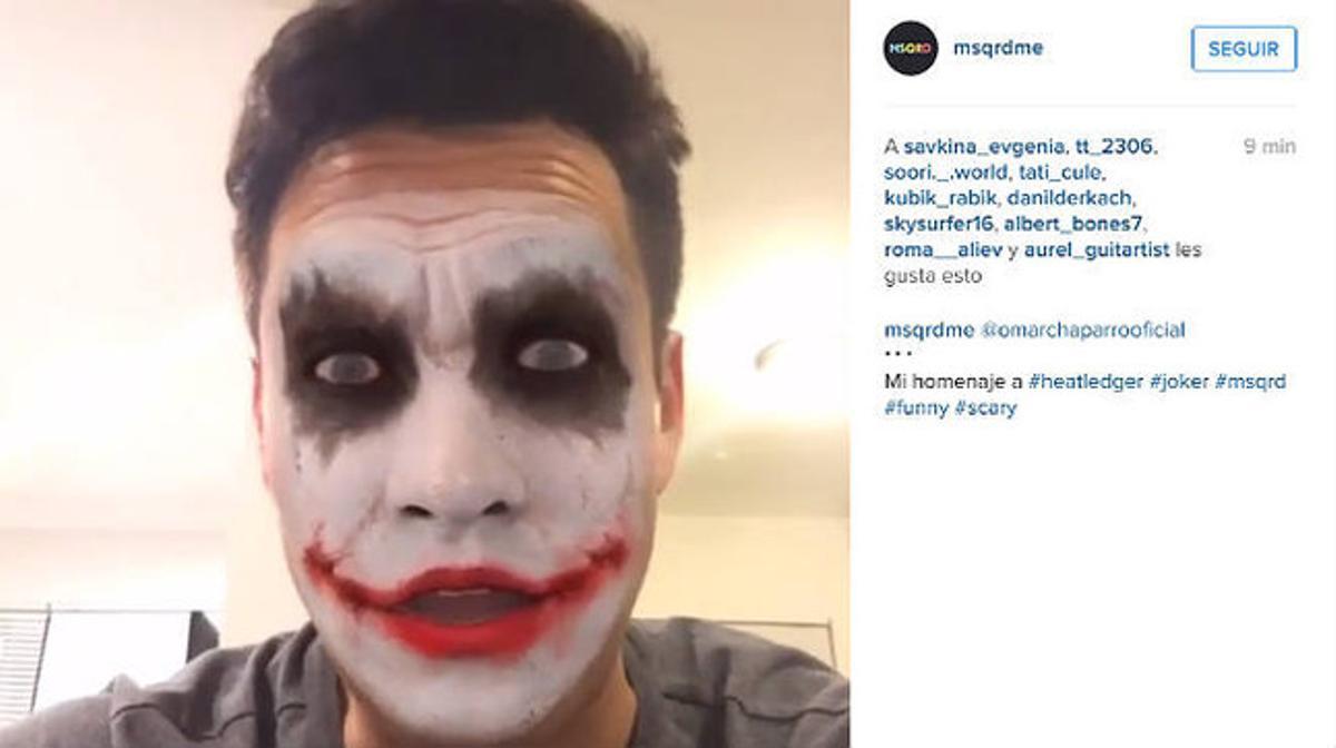 Un usuario de la aplicación MSQRD con la máscara de el Jocker.