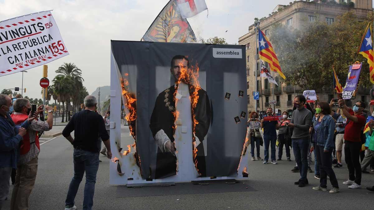 Protestas por la visita del Rey a Barcelona.