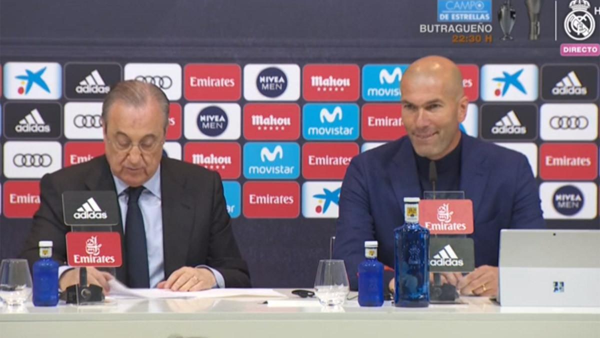 Florentino Pérez y Zinedine Zidane, en la rueda de prensa en la que este último ha anunciado que deja el club.