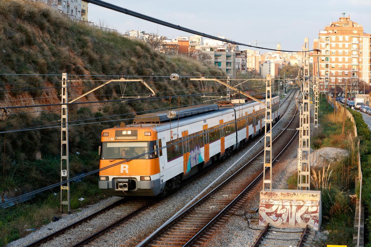 Vías del tren en L'Hospitalet de Llobregat (Barcelona).