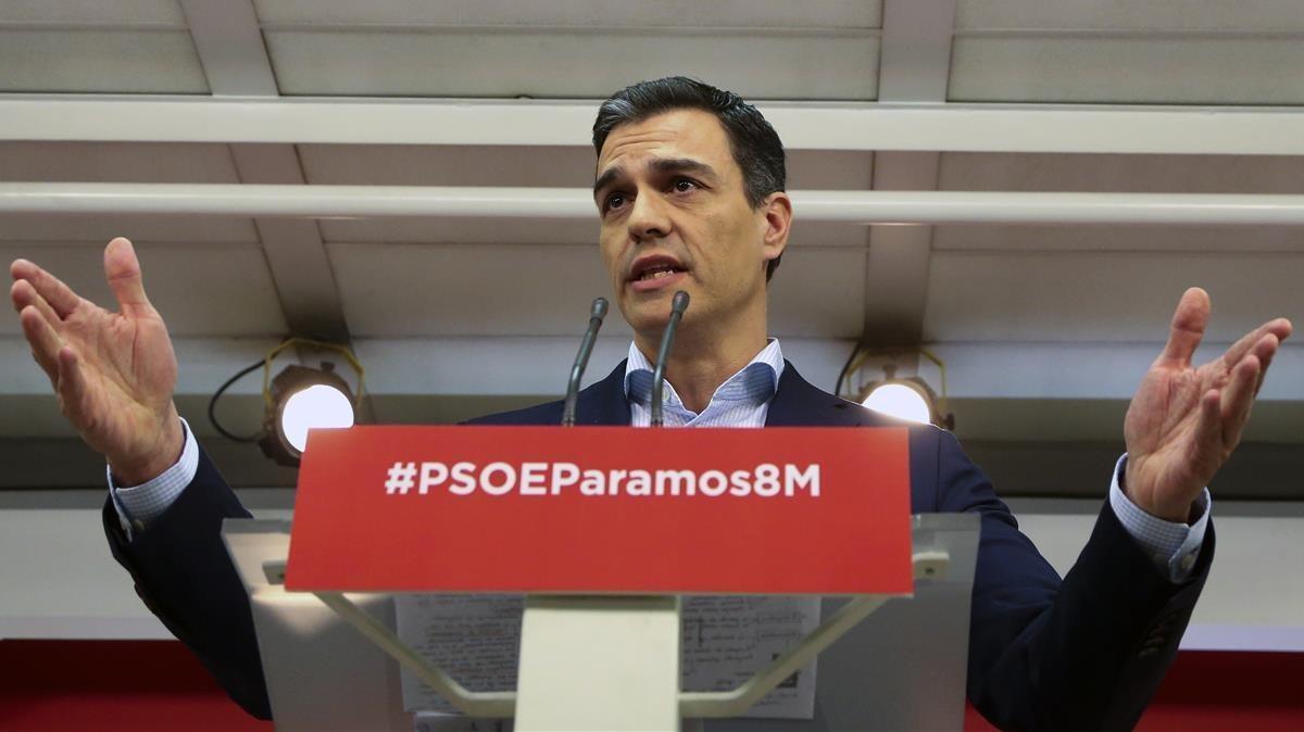 El secretario general del PSOE, Pedro Sánchez, el pasado marzo, en la sede del PSOE.