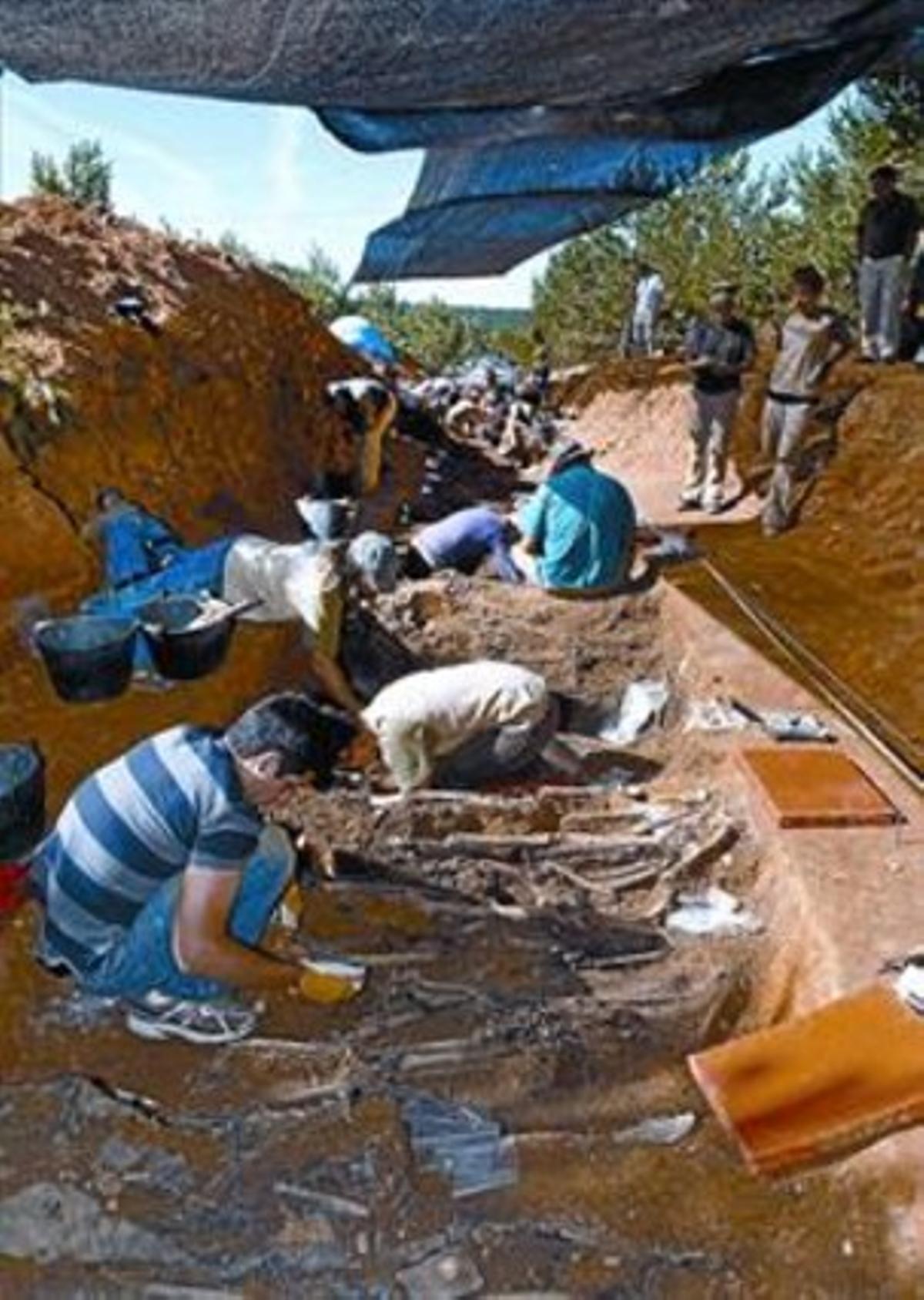 Trabajos de exhumación en La Pedraja, el miércoles.