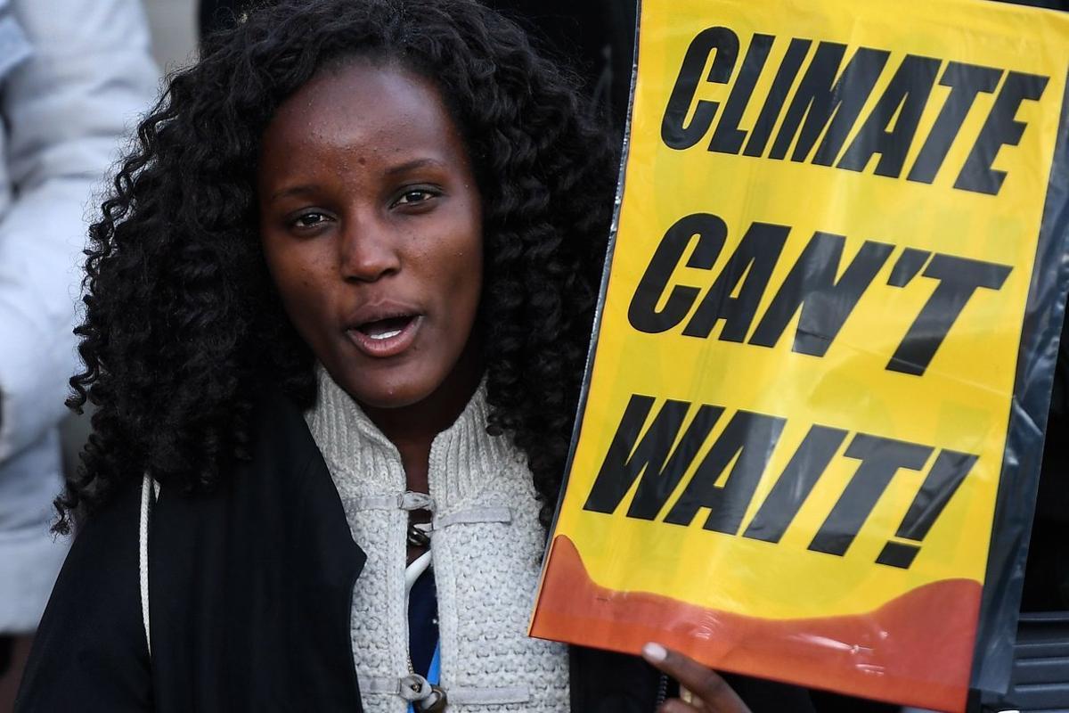 Una manifestante por la emergencia climática, el pasado viernes, en Madrid.