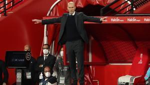 Zinedine Zidane durante el último partido del Real Madrid.