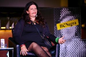 Dolores Reyes, la autora de 'Cometierra', en la mesa redonda 'Reina Barriada', el pasado sábado en BCNegra.