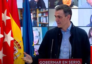 Pedro Sánchez, en la presentación de la candidatura de Ángel Gabilondo a la presidencia de la Comunidad de Madrid.