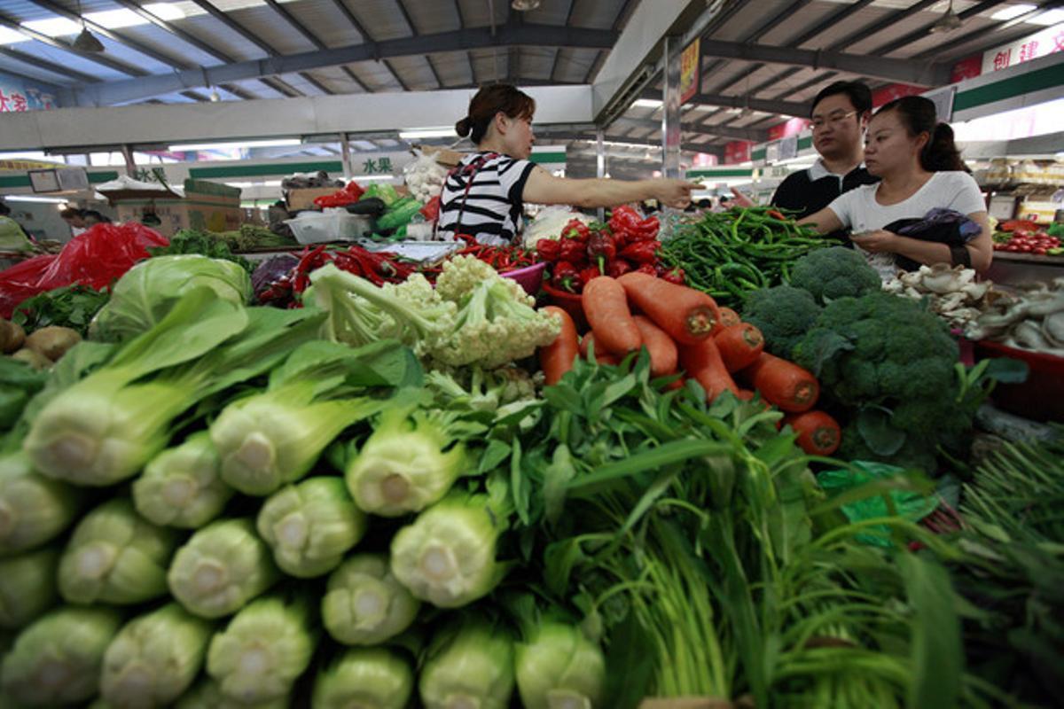 Un mercado en Huaibei, China.
