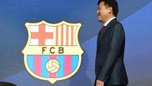 Hiroshi Mikitani,en la presentación del acuerdo entre Rakuten y el Barça.