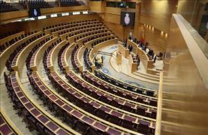 El hemiciclo del Senado, el pasado 17 de marzo, prácticamente vacío, en una sesión que duró apenas dos minutos.