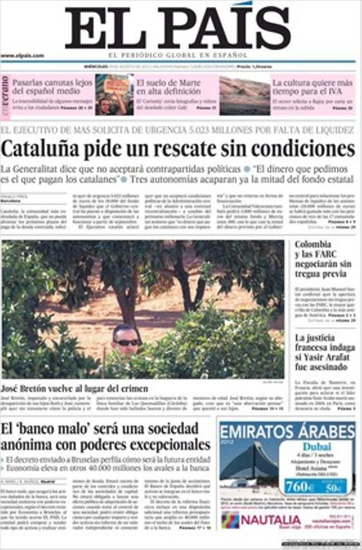 Portada de 'El País'.