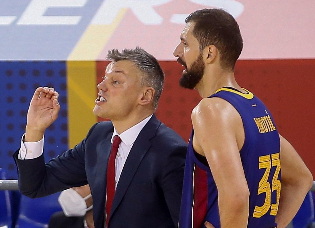 Jasikevicius y Mirotic, en el partido de Euroliga del pasado jueves antes el Efes