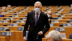 EU chief Brexit negotiator Michel Barnier attends a debate on future relations between Britain and the EU during a plenary session at the European Parliament in Brussels  Belgium December 18  2020     Olivier Hoslet Pool via REUTERS