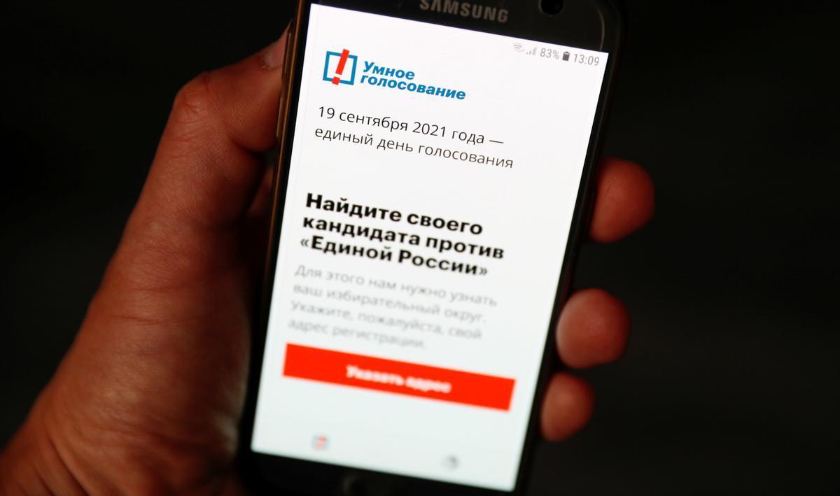 La aplicación de 'voto inteligente' lanzada por Navalni.
