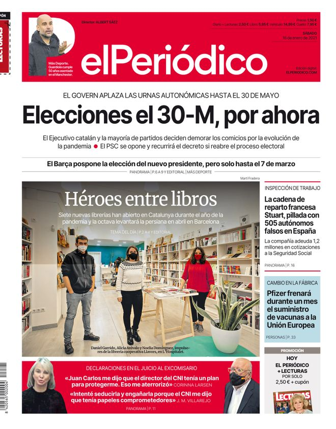 La portada de EL PERIÓDICO del 16 de enero de 2021