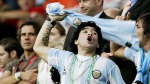 Maradona, como jugador de Argentina, en un partido de su selección rente a Holanda, el 21 de junio del 2008.