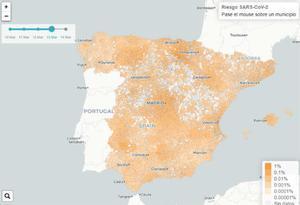 Mapa predictivo del coronavirus en España, elaborado por la URV y la Universidad de Zaragoza.