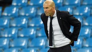 El técnico francés Zinedine Zidane durante un partido del Real Madrid.
