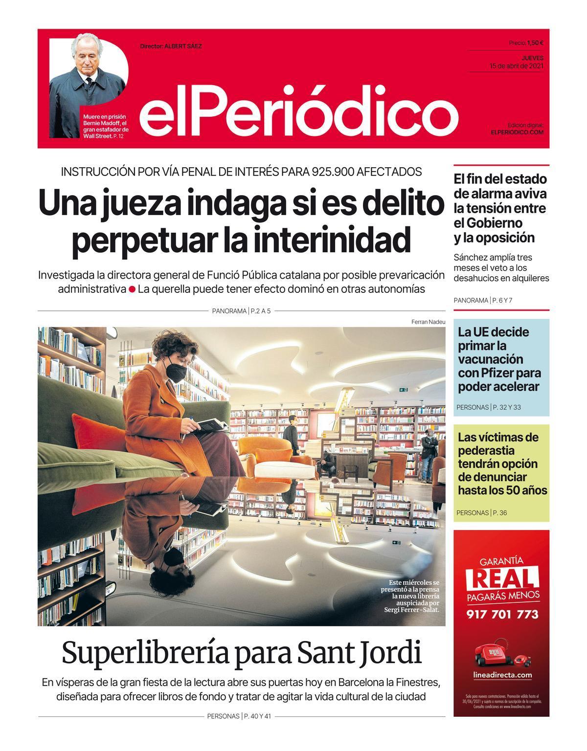 La portada de EL PERIÓDICO del 15 de abril de 2021