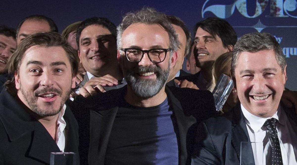 Jordi Roca, Massimo Bottura y Joan Roca, en la gala de 50 Best de la revista 'Restaurant' del año pasado.