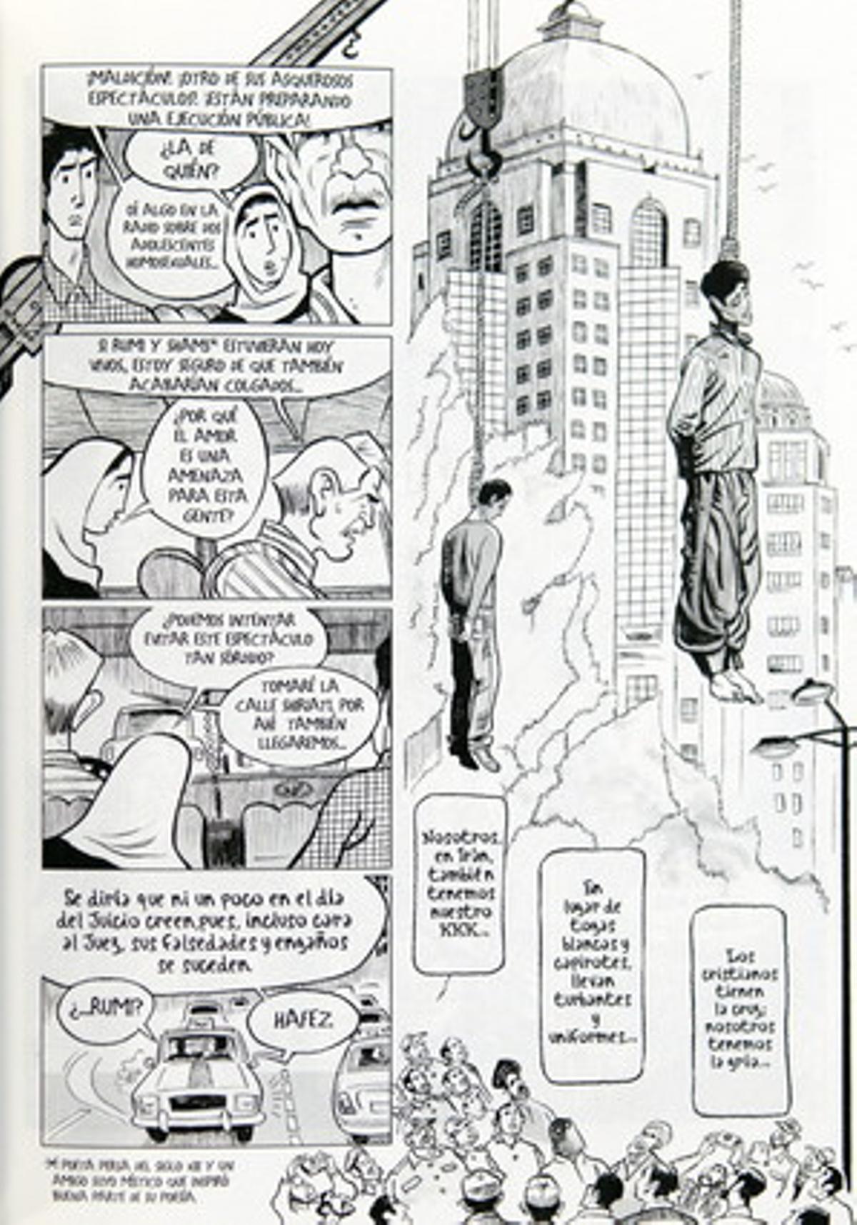 Vista de una de las paginas del comic 'El paraíso de Zahra'.