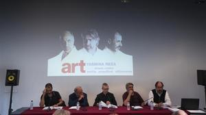 De izquierda a derecha, Villanueva, Orella, Górriz, Arquillué y Pou, en la presentación de 'Art' en el Macba.