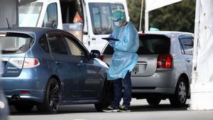 Pruebas de coronavirus en un aparcamiento del barrio de Wynyard, en Auckalnd, Nueva Zelanda.