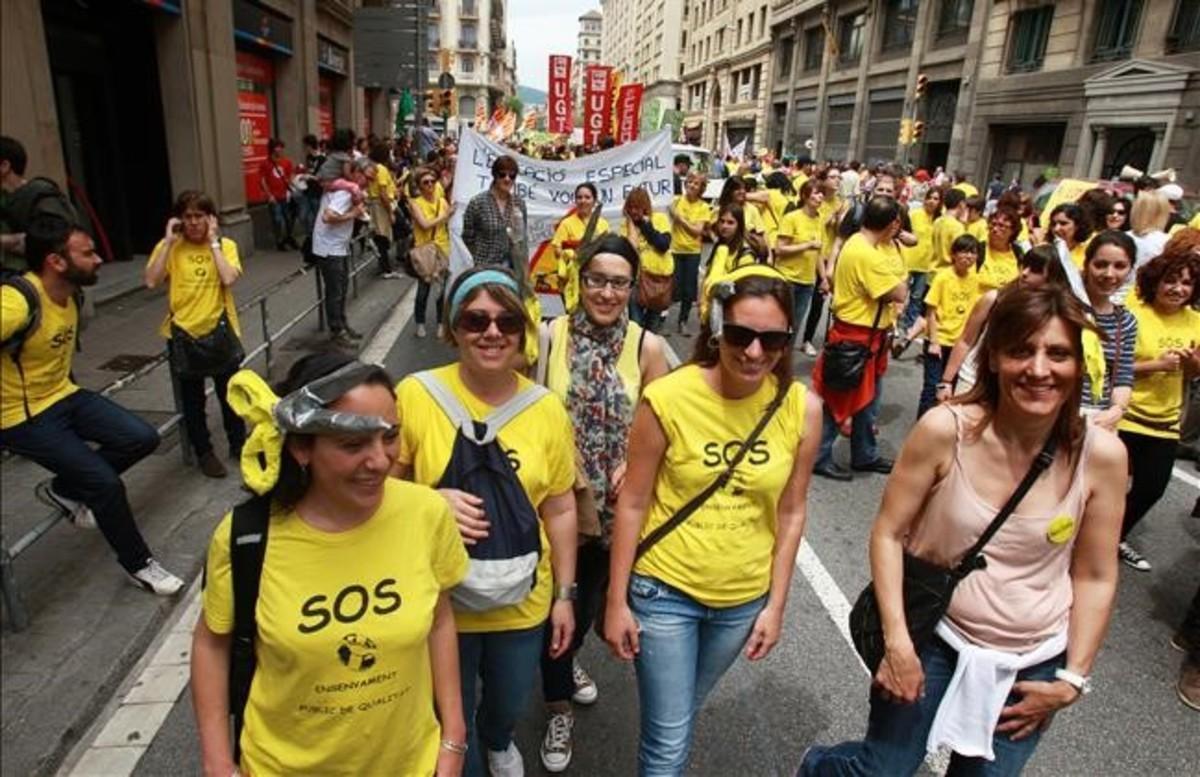 Manifestación de docentes en contra de los recortes en mayo del 2013.