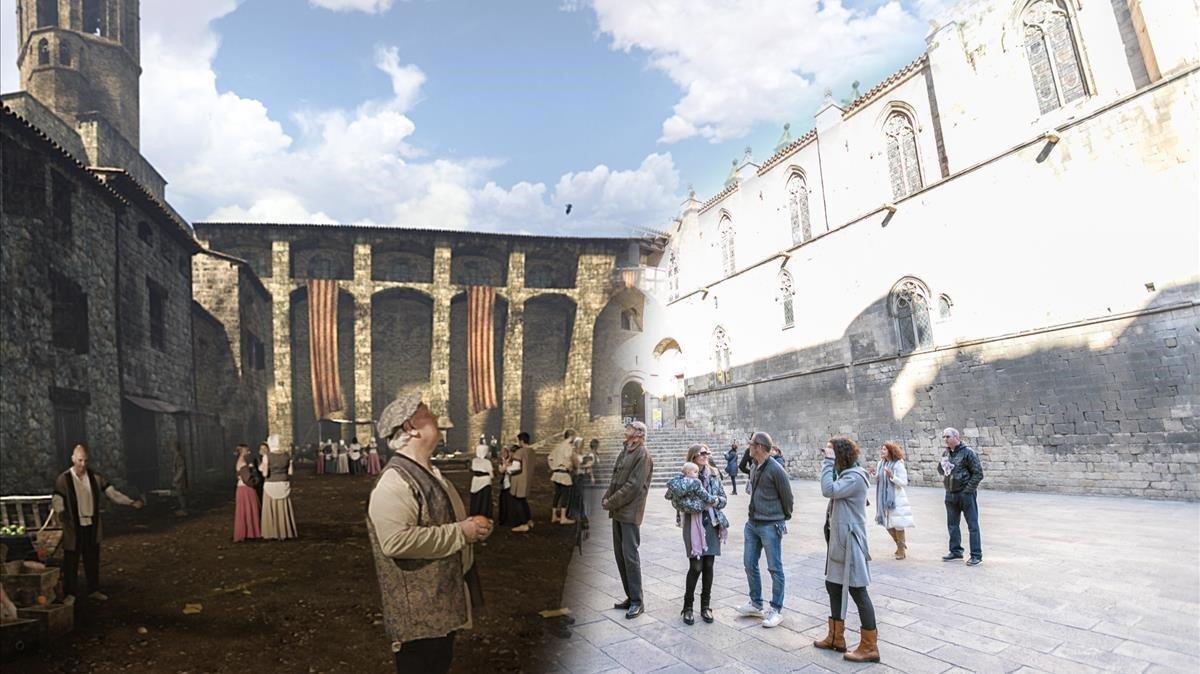 Un paseo por el siglo XIV: la plaza del Rei, con y sin las gafas virtuales de Past View.