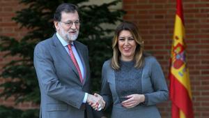 Mariano Rajoy y Susana Díaz, el pasado 18 de abrilen el Palacio de la Moncloa.