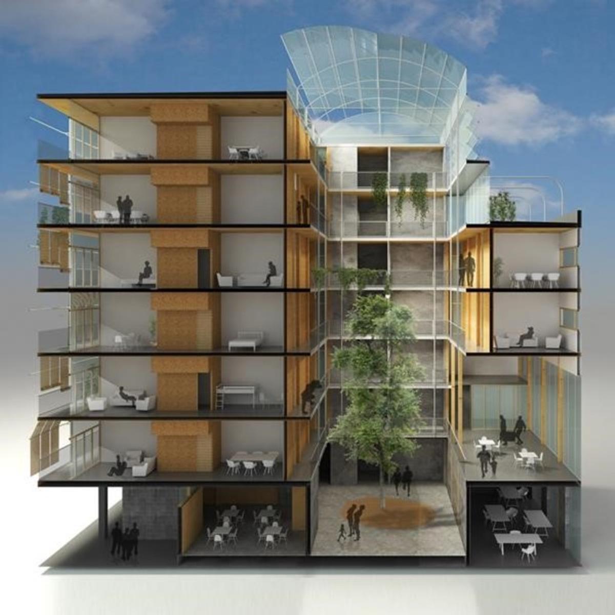 Proyecto de la cooperativa de arquitectos LaCol para 28 viviendas cooperativas en Can Batlló, en La Bordeta. Habrá tres tipologías de piso y tamaño, y amplios espacios comunitarios.