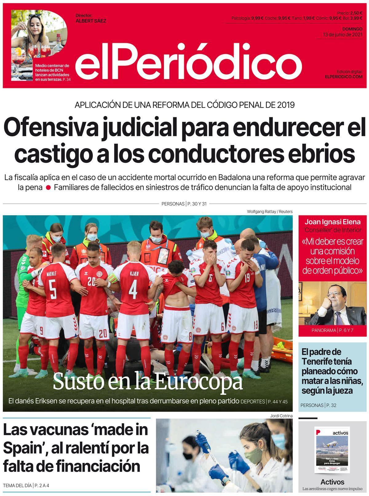 La portada d'EL PERIÓDICO del 13 de juny del 2021