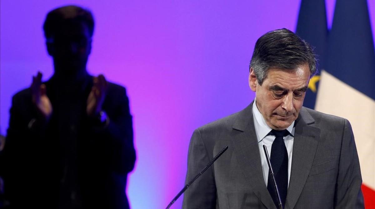 François Fillon en un mitin de campaña el pasado 9 de febrero.