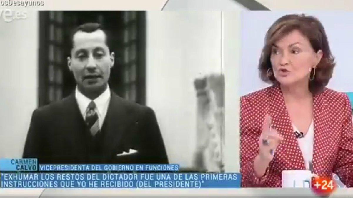 La vicepresidenta del Gobierno en funciones, Carmen Calvo, durante su intervención sobre Primo de Rivera en 'Los desayunos de TVE, estelunes.
